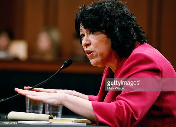 Supreme Court nominee Judge Sonia Sotomayor testifies on the fourth day of confirmation hearings before the Senate Judiciary Committee July 16 2009...