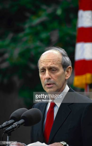 Supreme Court nominee Judge Stephen Breyer delivers remarks to reporters in the White House Rose Garden after US President Bill Clinton had announced...