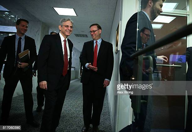 Supreme Court nominee Merrick Garland arrives for a meeting with U.S. Senator Amy Klobuchar March 23, 2016 on Capitol Hill in Washington, DC. Garland...