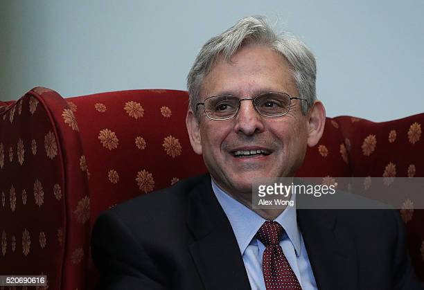 S Supreme Court nominee Merrick Garland chief judge of the DC Circuit Court is seen during a meeting with Sen Cory Booker April 12 2016 on Capitol...