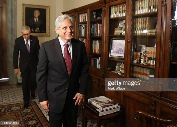 Supreme Court nominee Merrick Garland, , meets with Senate Minority Leader Harry Reid , on Capitol Hill September 14, 2016 in Washington, DC. Senate...