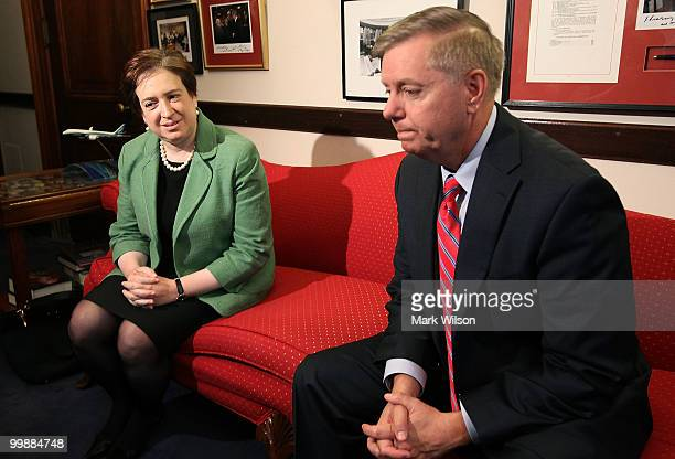 Supreme Court nominee, Solicitor General Elena Kagan meets with Sen. Lindsey Graham on Capitol Hill May 18, 2010 in Washington, DC. Kagan continued...