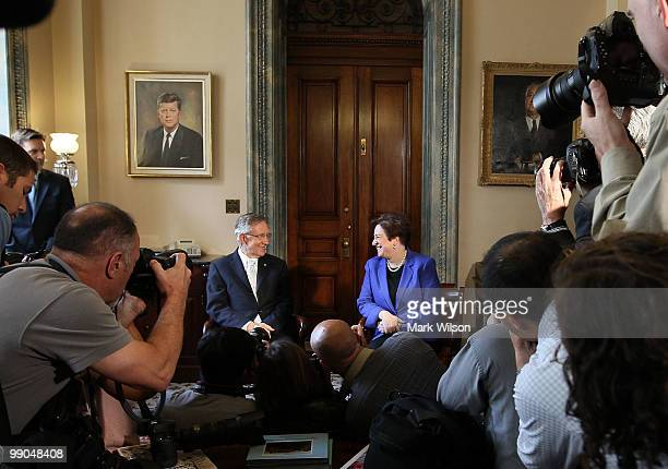 S Supreme Court nominee Solicitor General Elena Kagan meets with Senate Majority Leader Sen Harry Reid at the US Capitol May 12 2010 in Washington DC...