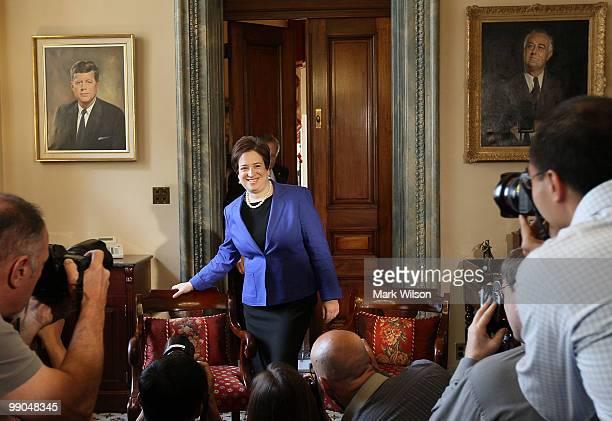 Supreme Court nominee, Solicitor General Elena Kagan walks in to meet with Senate Majority Leader Sen. Harry Reid as she visits members of the Senate...
