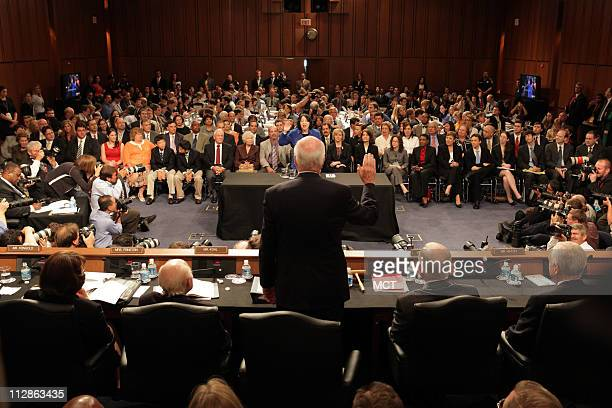 Supreme Court nominee Sonia Sotomayor is sworn in by committee chairman Sen Patrick Leahy front on the first day of confirmation hearings before the...