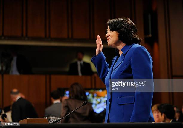 Supreme Court nominee Sonia Sotomayor is sworn in on the first day of confirmation hearings before the Senate Judiciary Committee on Monday July 13...