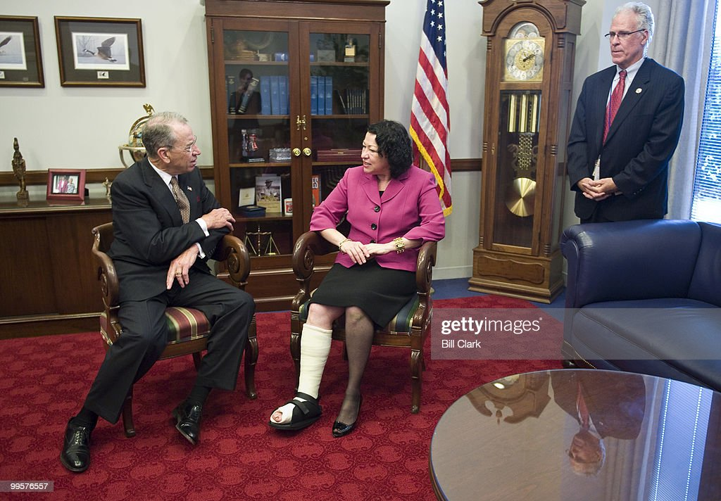 Supreme Court nominee Sonia Sotomayor meets with Sen. Charles Grassley, R-Iowa, on Monday afternoon, June 8, 2009. Judge Sotomayor tripped and fractured her ankle at New York's LaGuardia Airport earlier in the day as she returned to Washingtington for more meetings with Senators on Capitol hill.
