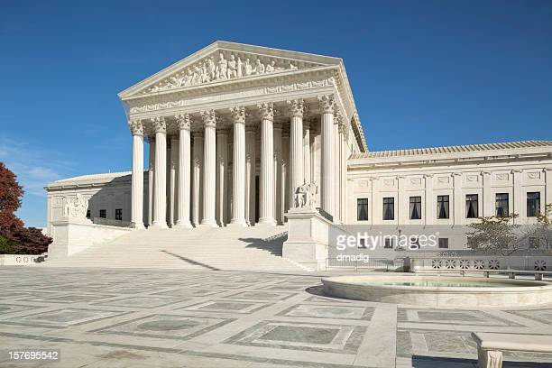 u.s. supreme court with ornate brickwork and fountain - federal building stock pictures, royalty-free photos & images