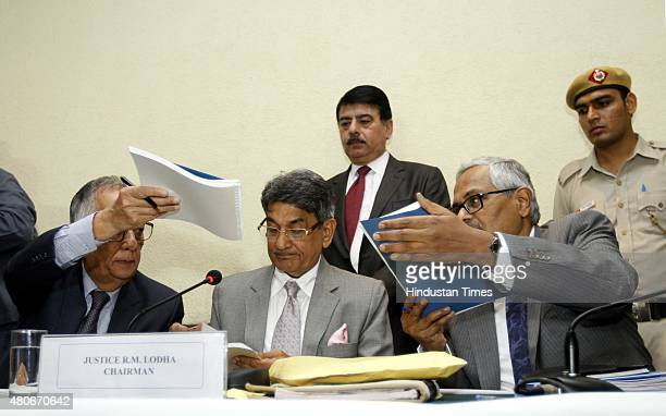 Supreme Courtappointed Justice Lodha panel during a press conference for IPL betting verdict pronounced verdict on the spotfixing and betting scandal...