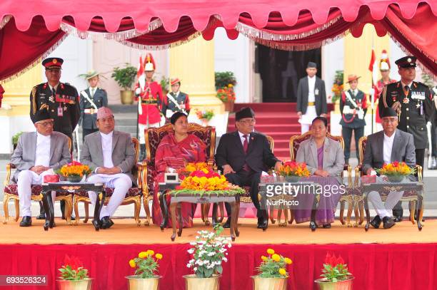 Supreme Court's senior justice Gopal Prasad Parajuli Vice President of Nepal Nanda Bahadur Pun President of Nepal Bidhya Devi Bhandari outgoing Prime...