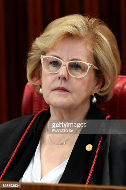 Supreme Electoral Court Judge Rosa Weber attends a session examining whether the 2014 reelection of president Dilma Rousseff and her thenvice...