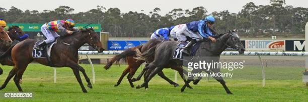 Supreme Harmony ridden by Jordan Childs wins the Orrcon Steel Maiden Plate at Bendigo Racecourse on May 05, 2017 in Bendigo, Australia.