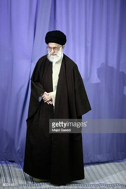 Supreme Leader Ayatollah Ali Khamenei arrives to cast his ballot in Iran's parliamentary election on March 14 2008 in Tehran Iran Iranians have begun...