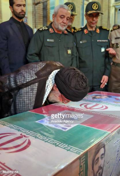 Supreme Leader of Iran Ali Khamenei attends the funeral ceremony of Muhsin Huceci a member of Islamic Revolutionary Guard Corps who died during a...