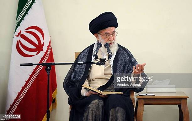 Supreme Leader of Iran Ali Khamenei meets with president of Iran Hassan Rouhani and cabinet ministeriel about the ongoing Israeli military airstrikes...