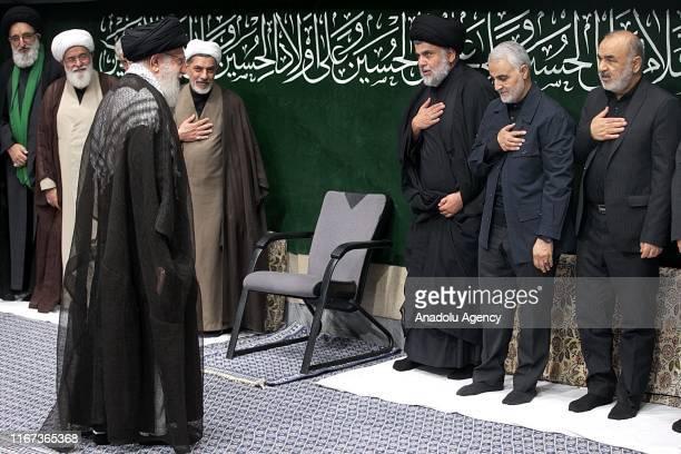 Supreme Leader of Iran Ali Khamenei Sadrist Movement Leader Muqtada alSadr and Commander of Quds Force affiliated with Islamic Revolutionary Guard...