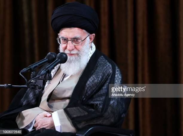 Supreme Leader of Iran Ali Khamenei speaks during his meeting with Iranian ambassadors and heads of Iran's missions abroad in Tehran Iran on July 21...