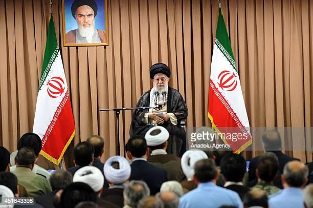 Supreme Leader of Iran Ayatollah Ali Khamenei gives a speech on the meeting in Tehran, Iran on 8 July, 2014.