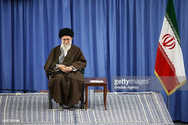 Supreme Leader of the Islamic Revolution Ayatollah Seyyed Ali Khamenei delivers a speech prior to the Irans Parliamentary elections in Tehran Iran on...