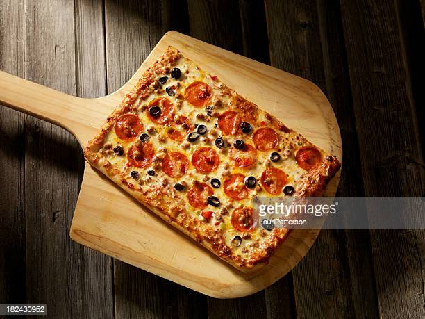 supreme pizza - rectangle stock pictures, royalty-free photos & images