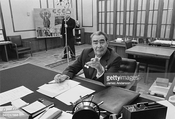Supreme Soviet President Leonid Brezhnev prepares to meet with French Prime Minister Raymond Barre in his office located on the third floor of the...