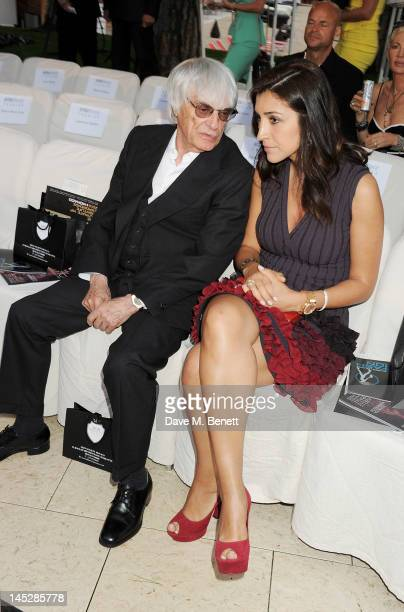 F1 Supremo Bernie Ecclestone and Fabiana Flosi attend a cocktail reception during Amber Lounge Fashion Monaco 2012 at Le Meridien Beach Plaza Hotel...