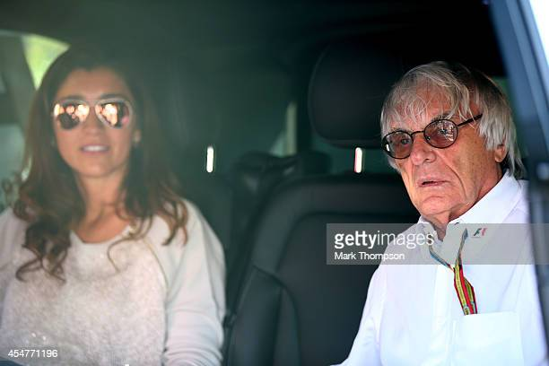 Supremo Bernie Ecclestone and his wife Fabiana Flosi are seen following Qualifying ahead of the F1 Grand Prix of Italy at Autodromo di Monza on...
