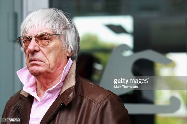 F1 supremo Bernie Ecclestone answers questions in the paddock from the media regarding the forthcoming Bahrain Grand Prix during previews to the...