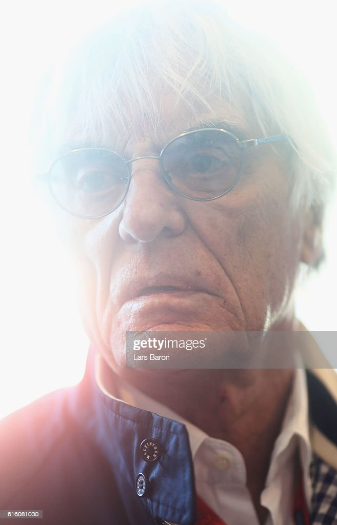 F1 supremo Bernie Ecclestone in the Paddock during practice for the United States Formula One Grand Prix at Circuit of The Americas on October 21, 2016 in Austin, United States.