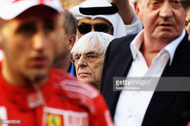 F1 supremo Bernie Ecclestone is seen on the grid before the Abu Dhabi Formula One Grand Prix at the Yas Marina Circuit on November 14 2010 in Abu...