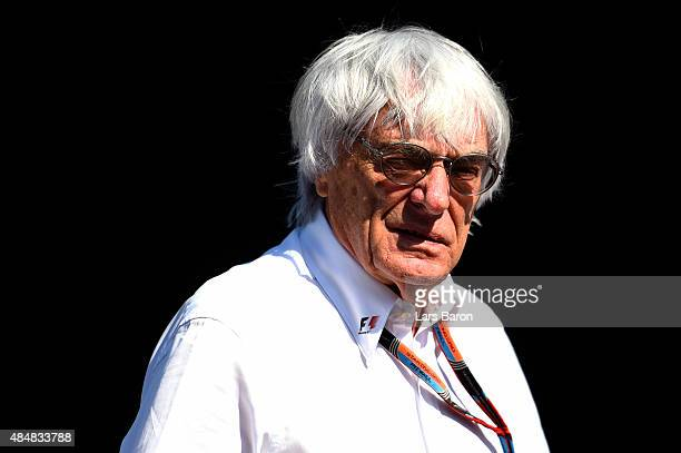 F1 supremo Bernie Ecclestone looks on in the paddock during qualifying for the Formula One Grand Prix of Belgium at Circuit de SpaFrancorchamps on...