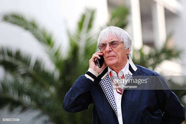 F1 supremo Bernie Ecclestone talks on the phone in the Paddock during qualifying for the Formula One Grand Prix of Russia at Sochi Autodrom on April...