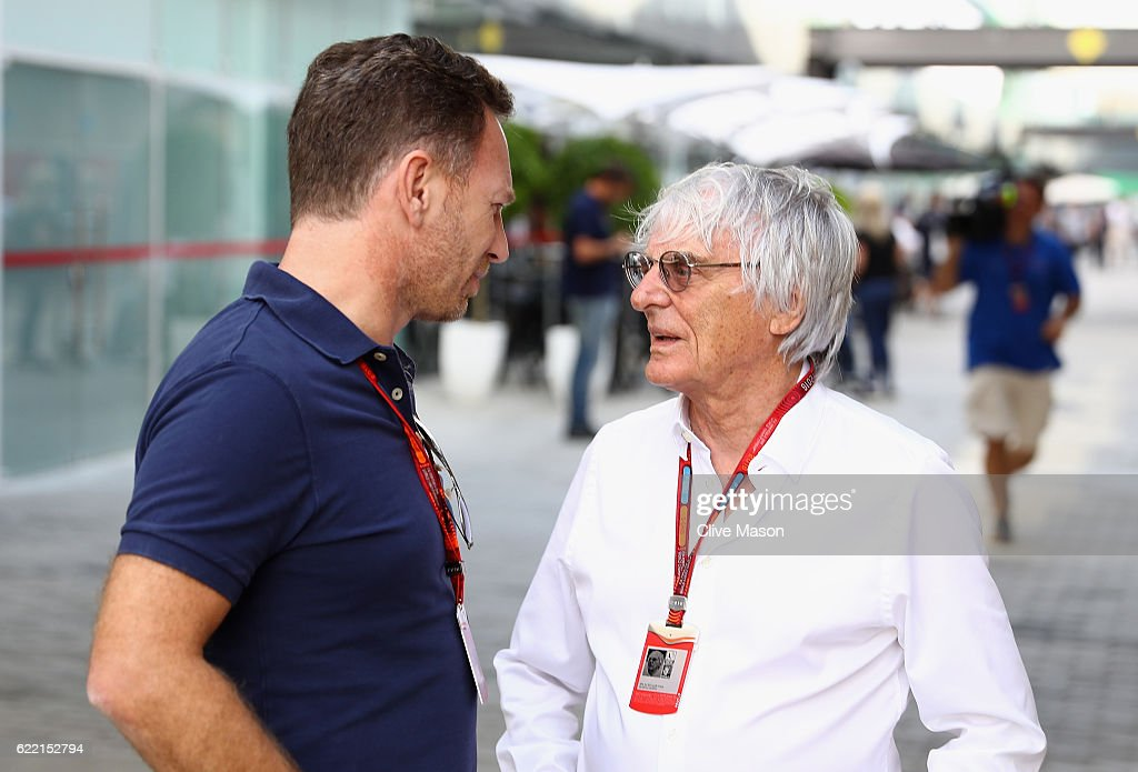 F1 supremo Bernie Ecclestone talks with Red Bull Racing Team Principal Christian Horner in the Paddock during previews for the Formula One Grand Prix of Brazil at Autodromo Jose Carlos Pace on November 10, 2016 in Sao Paulo, Brazil.