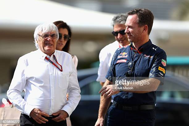 F1 supremo Bernie Ecclestone talks with Red Bull Racing Team Principal Christian Horner in the Paddock before final practice for the Abu Dhabi...