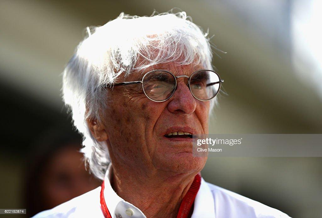 F1 supremo Bernie Ecclestone walks in the Paddock during previews for the Formula One Grand Prix of Brazil at Autodromo Jose Carlos Pace on November 10, 2016 in Sao Paulo, Brazil.