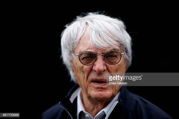 Supremo Bernie Ecclestone walks into the paddock for final practice ahead of the British Formula One Grand Prix at Silverstone Circuit on July 5,...