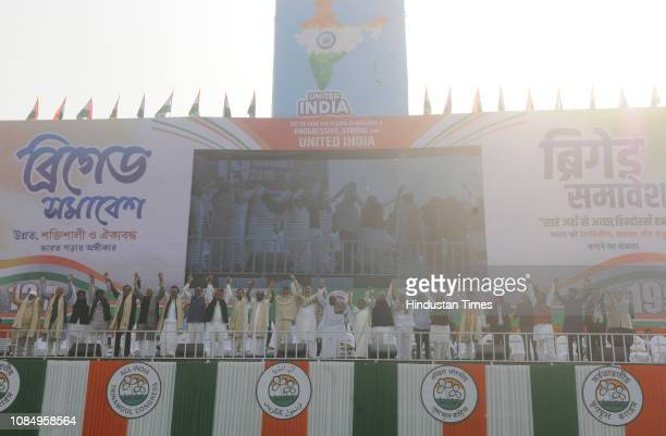 TMC supremo Mamata Banerjee with AIMIM leader Badruddin Ajmal Congress leader Abhishek Manu Singhvi Jharkhand Mukti Morcha leader Hemant Soren...
