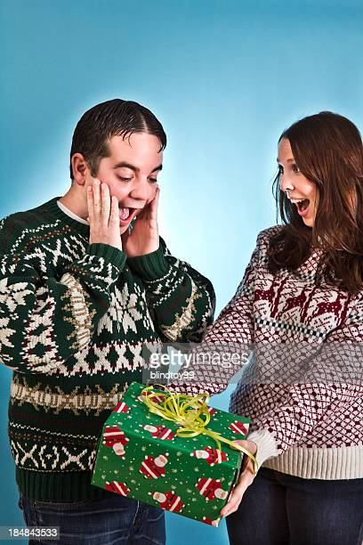 suprise christmas - ugly santa stock photos and pictures