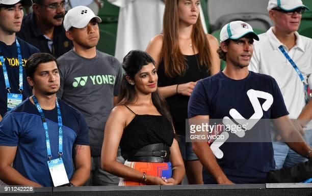 Supriya Annaiah wife of India's Rohan Bopanna reacts after Bopanna and Hungary's Timea Babos lost to Croatia's Mate Pavic and Canada's Gabriela...