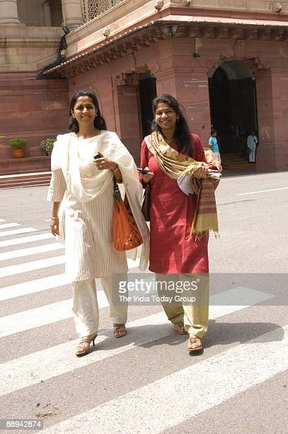 Supriya Sule Rajya Sabha MP and daughter of Union Cabinet Minister of Agriculture and NCP President Sharad Pawar with Kanimozhi Member of Parliament...
