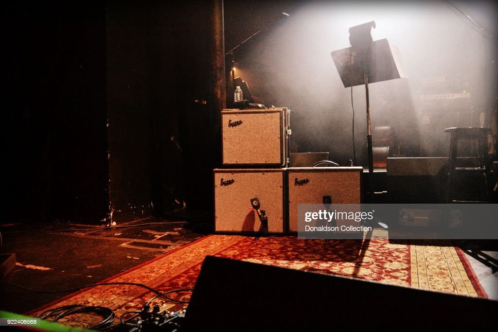 Supro amps onstage before the performance of rock band 'Dan Auerbach and the Easy Eye Sound Revue' performs onstage at the Obervatory on February 18, 2018 in Santa Ana, California.