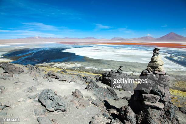 Sur Lipez or Sud Lipez Province, Altiplano of Bolivia, 2011: landscape of the Eduardo Avaroa Andean Fauna National Reserve, Laguna Colorada. Apacheta...