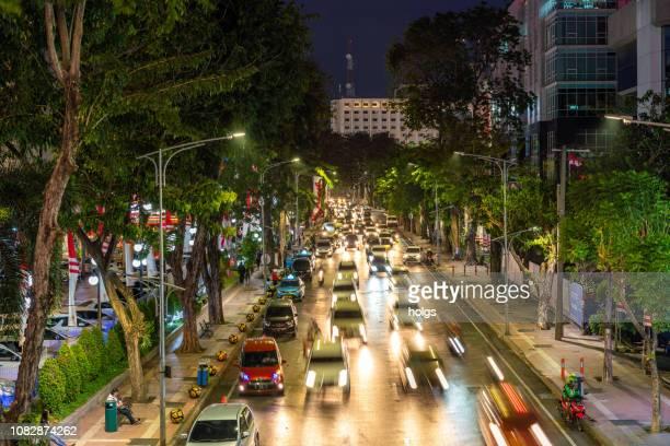 surabaya city traffic street, indonesia - surabaya stock pictures, royalty-free photos & images