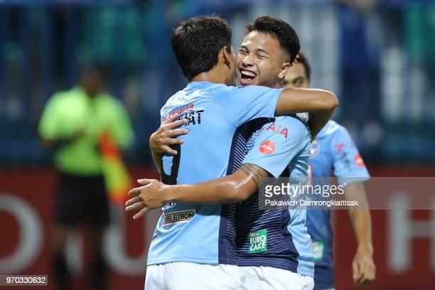Surachart Sareepim of Bangkok Glass FC celebrates scoring his side's goal with Thitiphan Puangjan of Bangkok Glass FC during the Thai League 1 match...