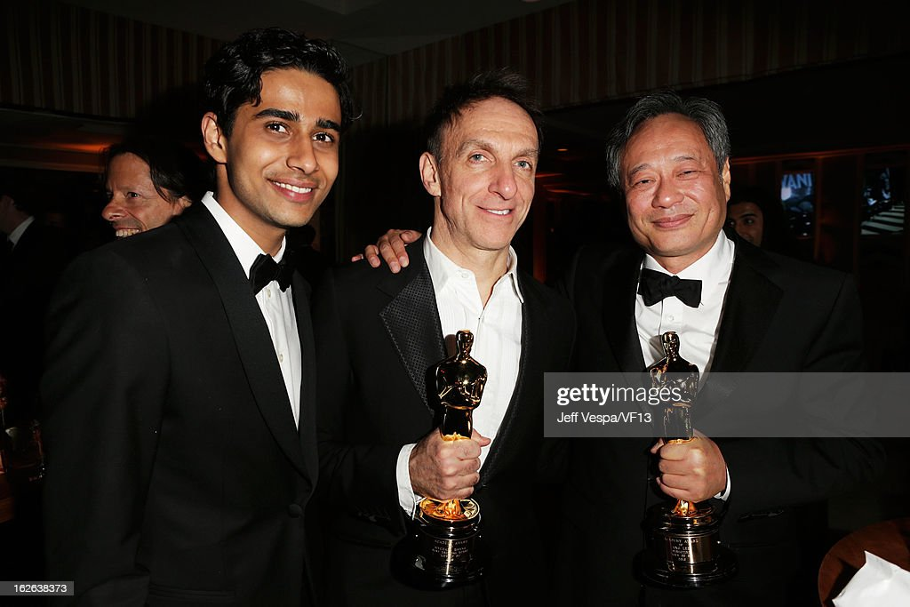 Suraj Sharma, Mychael Danna and Ang Lee attend the 2013 Vanity Fair Oscar Party hosted by Graydon Carter at Sunset Tower on February 24, 2013 in West Hollywood, California.