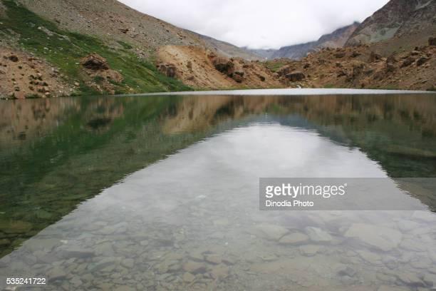 Suraj Tal Lake at Barlacha Pass in Lahul and Spiti, Himachal Pradesh, India.