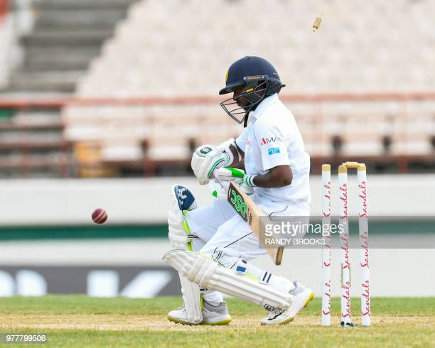 Suranga Lakmal of Sri Lanka bowled by Shannon Gabriel of West Indies during day 5 of the 2nd Test between West Indies and Sri Lanka at Daren Sammy...