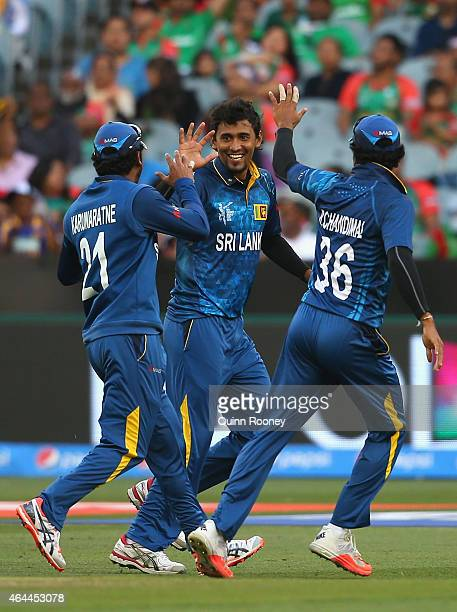 Suranga Lakmal of Sri Lanka celebrates getting the wicket of Mominul Haque of Bangladesh during the 2015 ICC Cricket World Cup match between Sri...