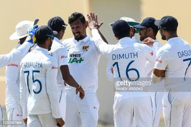 Suranga Lakmal of Sri Lanka celebrates the dismissal of Kyle Mayers of West Indies during day 4 of the 2nd Test between West Indies and Sri Lanka at...