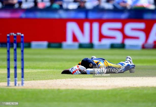Suranga Lakmal of Sri Lanka lays down to avoid a swarm of bees during the Group Stage match of the ICC Cricket World Cup 2019 between Sri Lanka and...